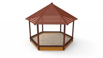 Covered Hexagonal Sandbox; Side Panel Length 200 Cm