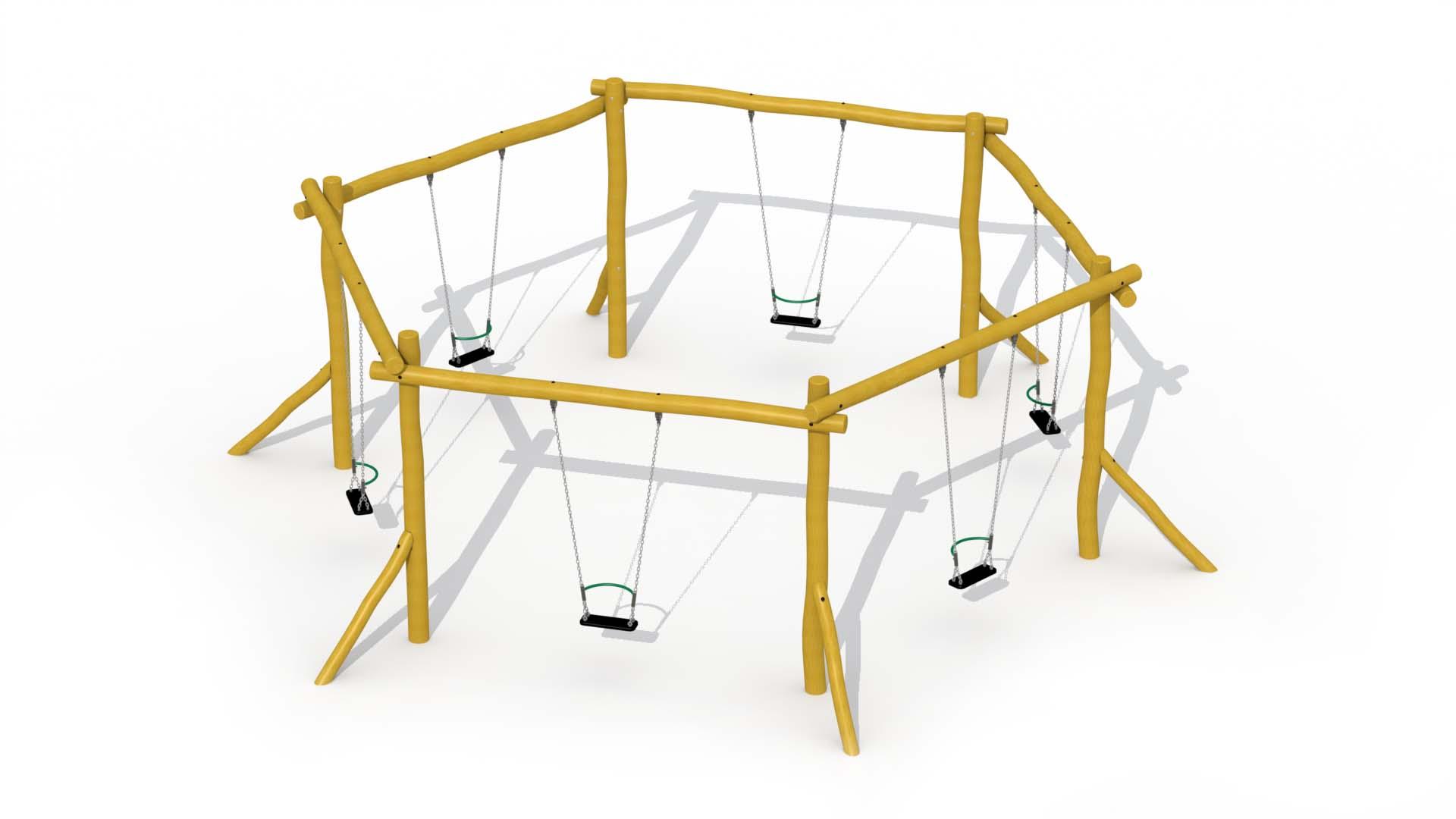 Hexagonal Swing In Robinia (six Rubber Seats With Brace)