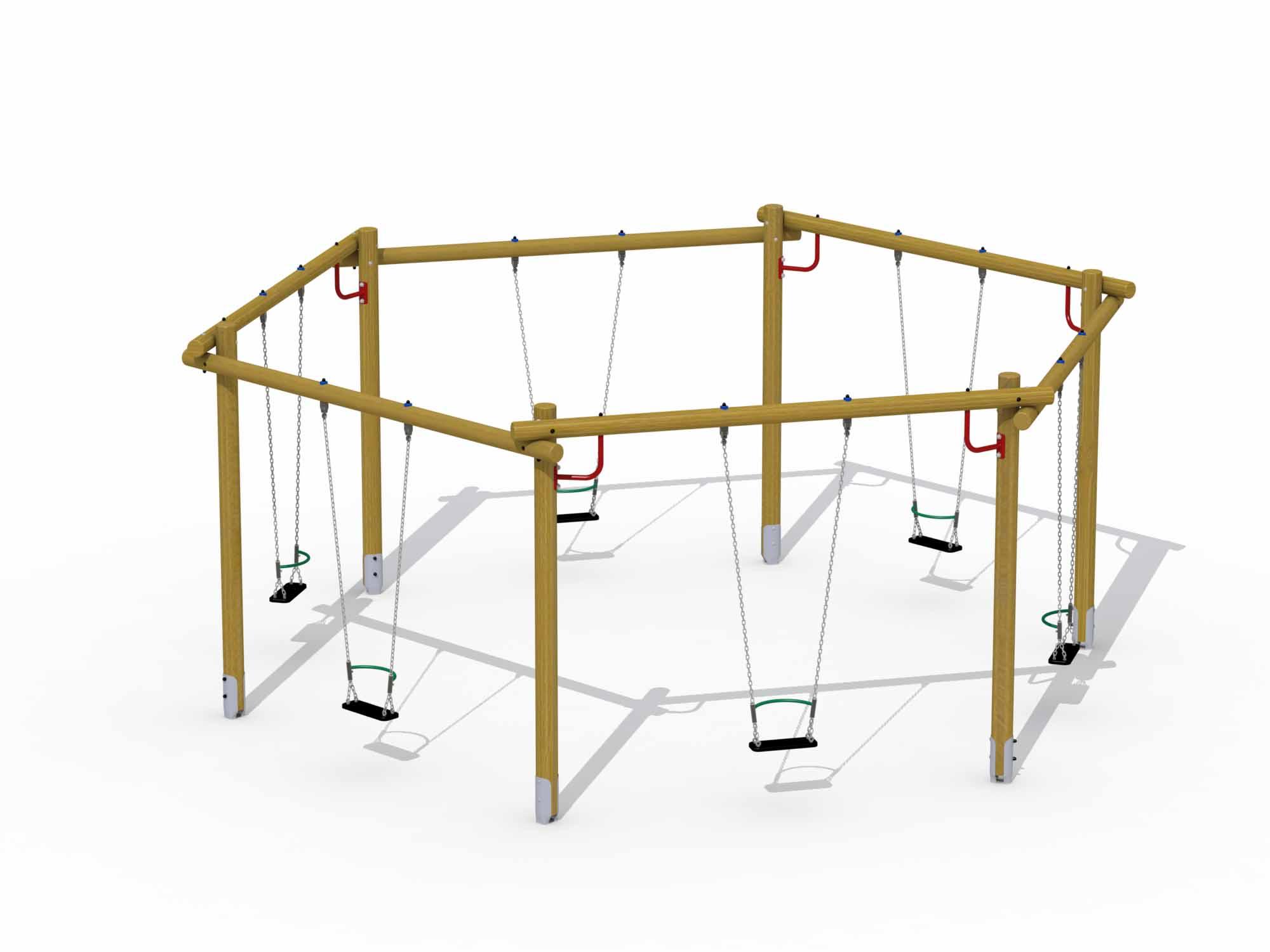 Hexagonal Swing (rubber Seat With Brace)